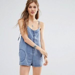 Free People Wainwright Chambray Zip Front Romper